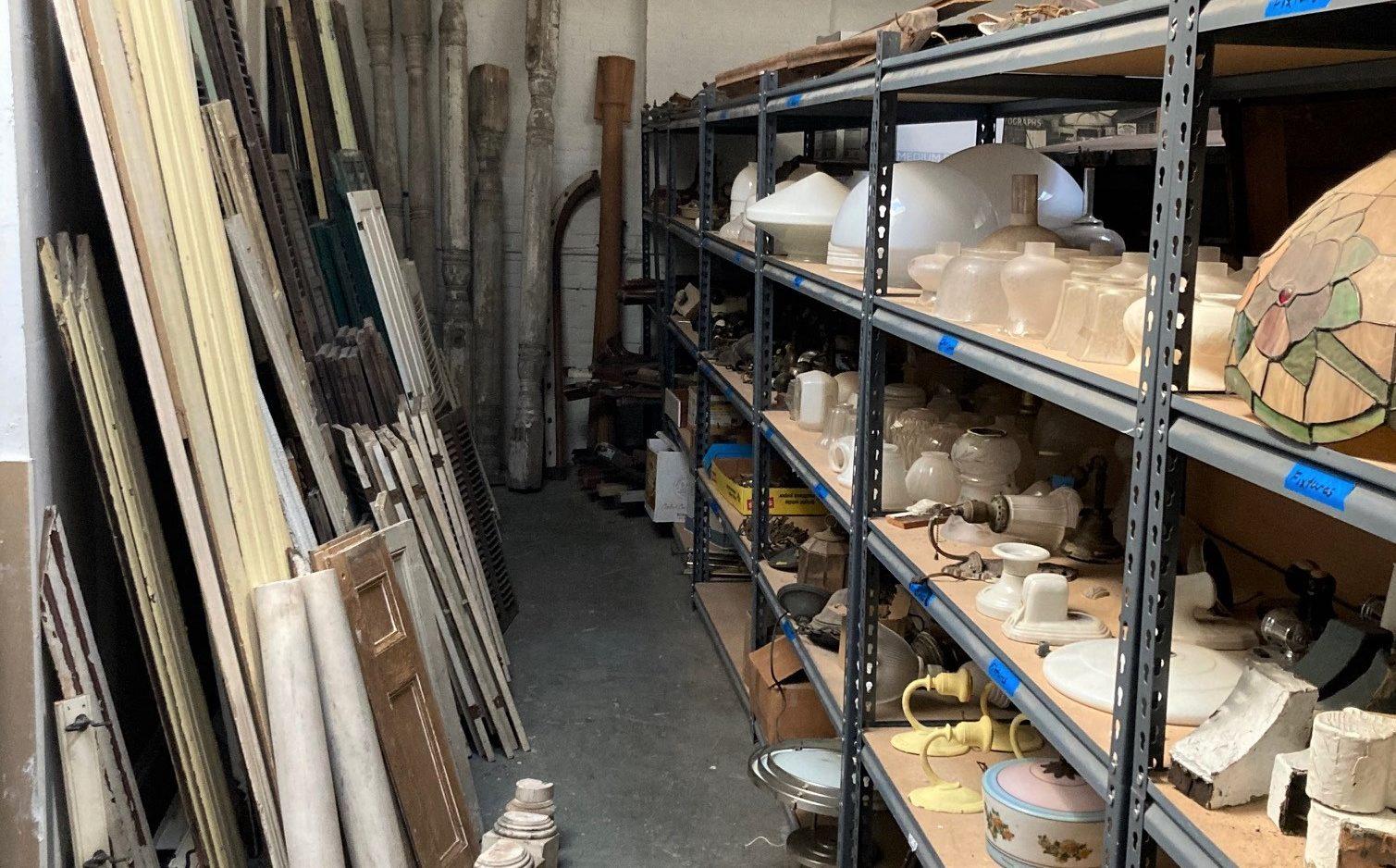 salvaged doors in warehouse